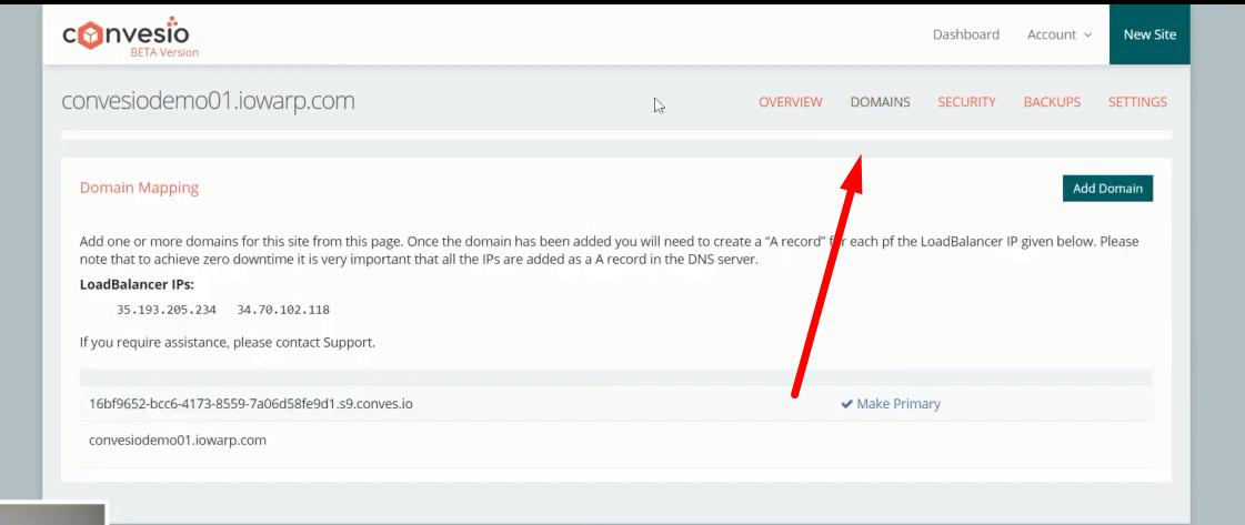 doamins addon in Convesio manged web hosting