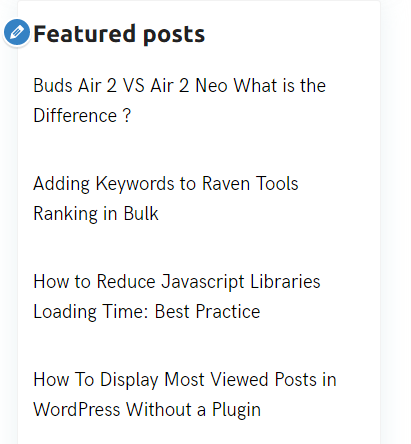 Features posts sidebar links color